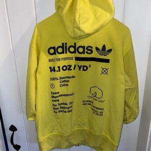 Adidas-Men's Yellow Zip-up Hoodie Jacket-Small